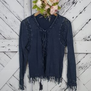 3 Sisters Indigo Blue Crocheted Fringed Cardi M
